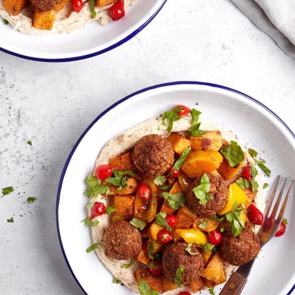 Vegan sheet pan meatballs with spiced roasted veg