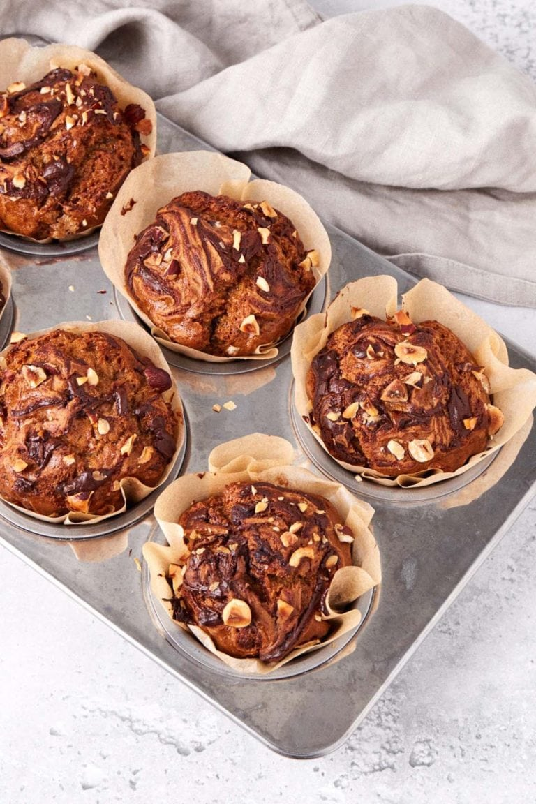 gluten free vegan banana muffins with nutella