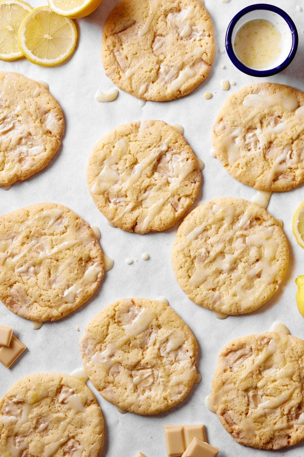 vegan lemon and white chocolate cookies