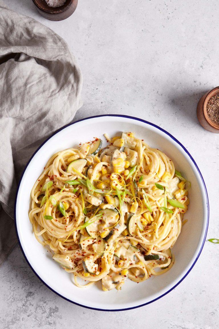 Creamy corn and zucchini pasta